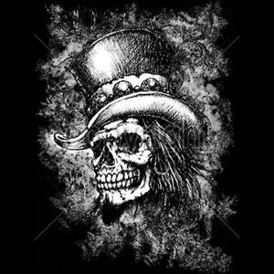 Top Hat Scary Skull White Ink Tattoo T Shirt Tee Ebay