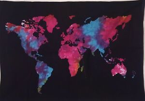Multi tie dye hippie world map design wall hanging door tapestry image is loading multi tie dye hippie world map design wall gumiabroncs Choice Image