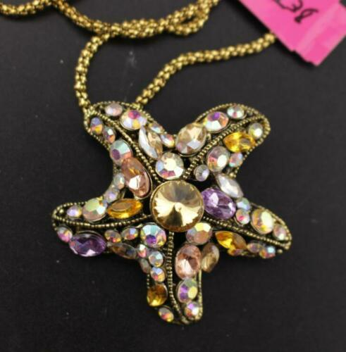 Pendant Jewelry Betsey Johnson rhinestone color starfish Sweater necklace retro