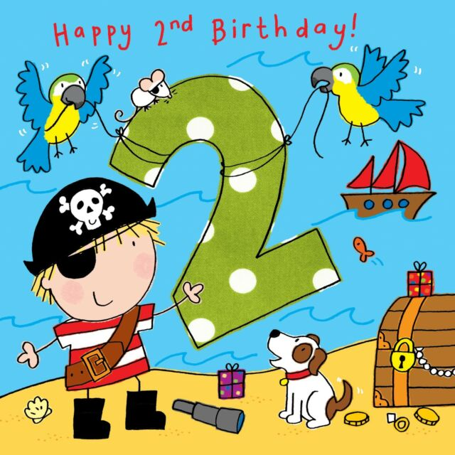 Twizler 2nd Birthday Card For Boy With Pirate Dog And Parrots Two