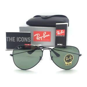 a6143354bb8 New Ray-Ban RB3025 L2823 Black Aviator Sunglasses w  G-15 Green ...