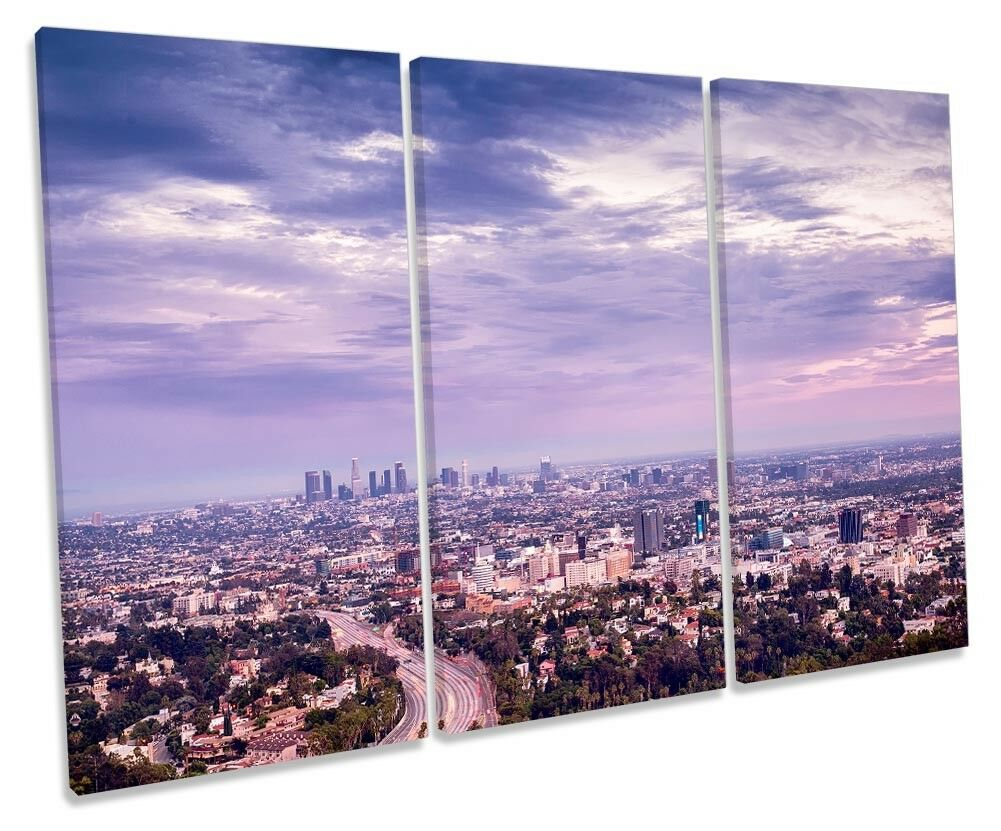 LOS Angeles Skyline Città Foto TREBLE TELA Wall Art Print
