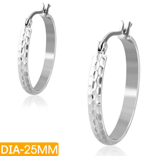Acero inoxidable aretes Ø 25mm creolen Stainless Steel copias Earrings z-ehe113