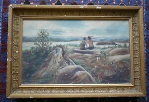 Vintage-1900s-034-Child-Spying-on-Native-American-Indian-Couple-Kissing-034-Painting