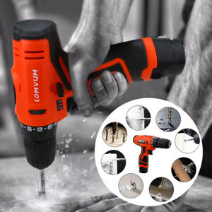 12V-Electric-Cordless-Drill-Driver-Li-Ion-1-Speed-Power-LED-2-Battery-Charger