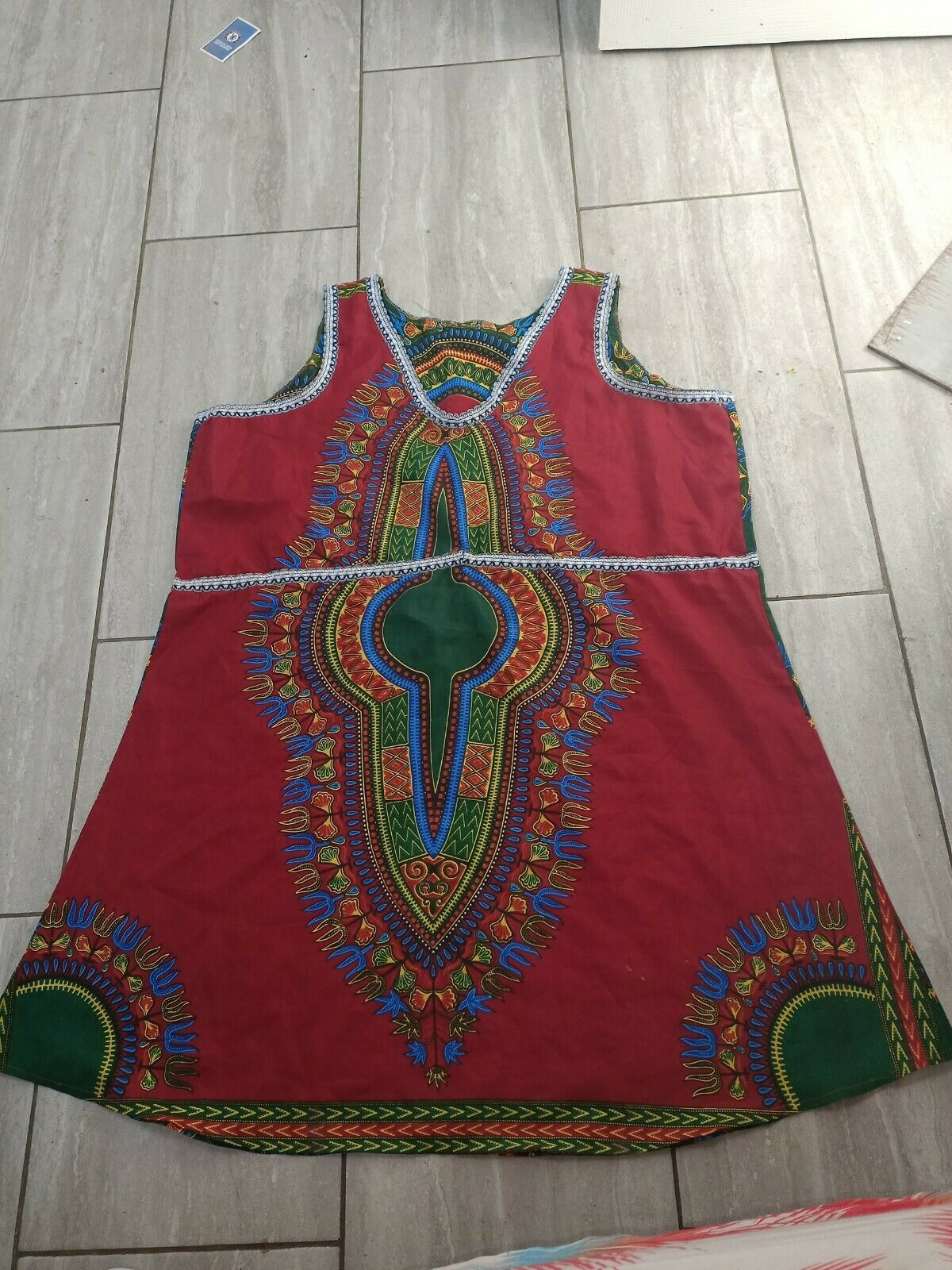 Ladies dress in African print material free size plus size fit chest up to 52Rin