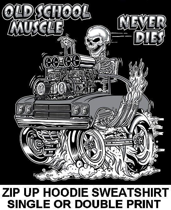 1970 OLD SCHOOL MUSCLE HOT ROD RACE BLOWER CAR SKULL ZIP HOODIE SWEATSHIRT 14
