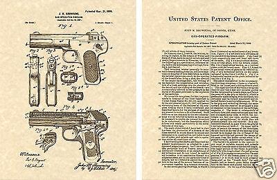 FN 1900 Auto Pistol Browning US PATENT Art Print READY TO FRAME!!!! Gun 32 John