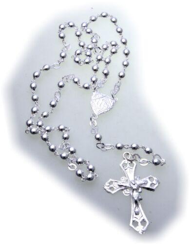 Halskette Rosenkranz Collier Kreuz mit Jesus Silber 800 mit Kugel 42 cm Unisex
