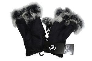 Ladies-Soft-Faux-Suede-Fur-Fingerless-Gloves-Mittens-Black-One-Size-Warm