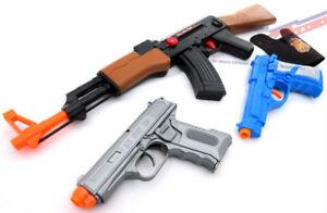 3x Toy Guns Military AK-47 Toy Rifle Blue & Silver 9MM Toy Pistols