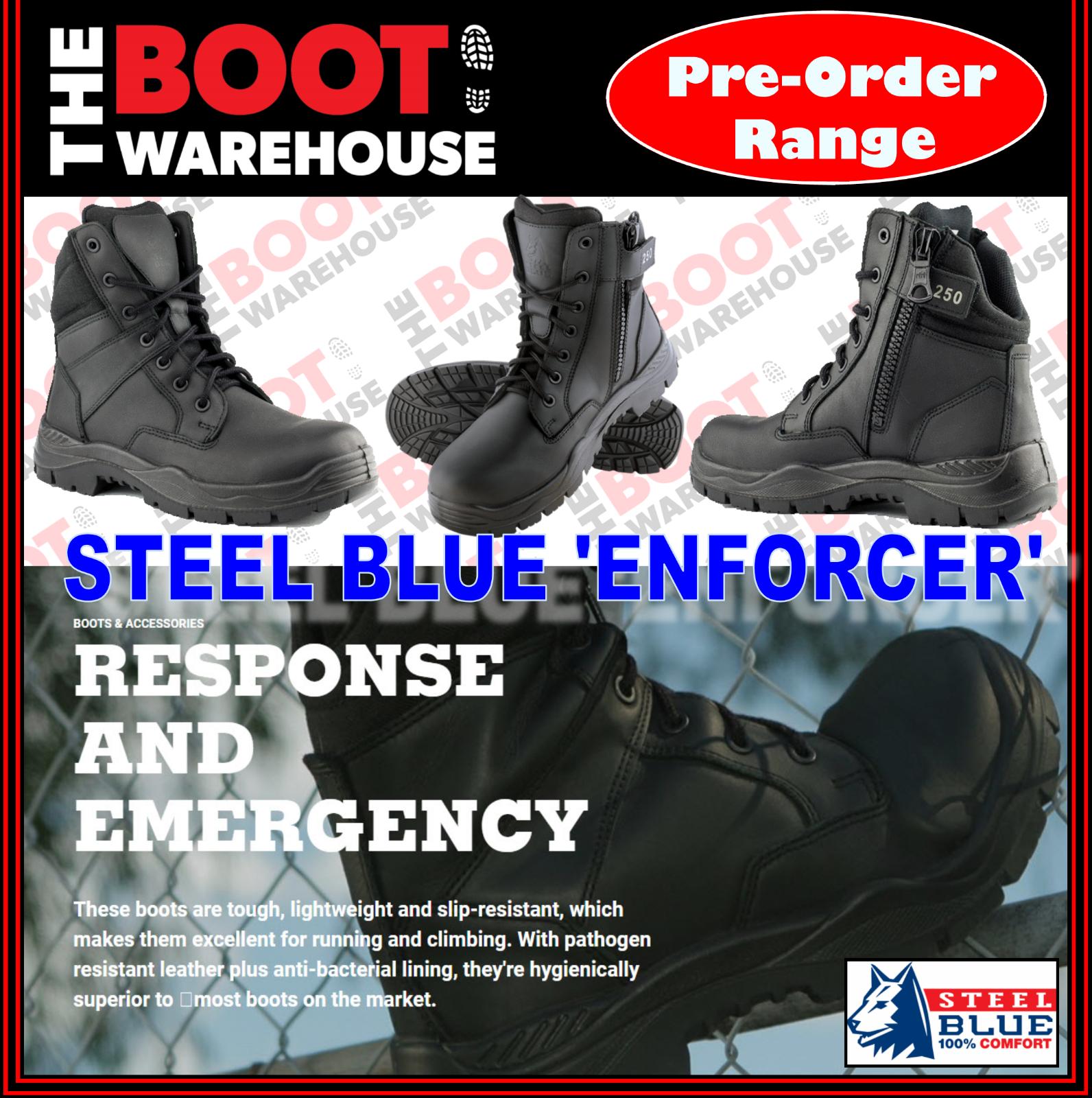 Steel Blau, 320250 ENFORCER. Soft Toe Stiefel. Police. Security. Emergency Services
