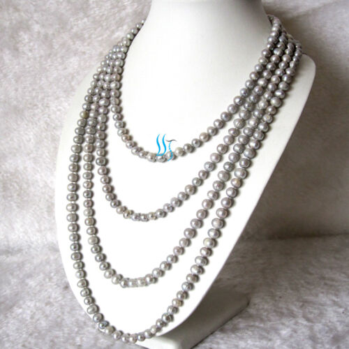 "Pearl Zone Freshwater Pearl Necklace 6-8mm Strand Pearl Jewelry 100/"" 50/"" 34/"" FR"