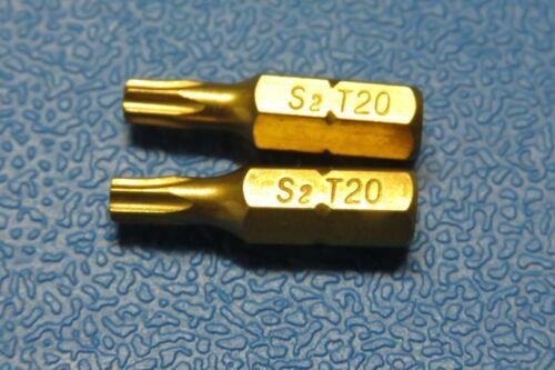 """T20 TORX STAR 25MM 1//4/"""" HEX  Tin Titanium coated  QUALITY BITS"""