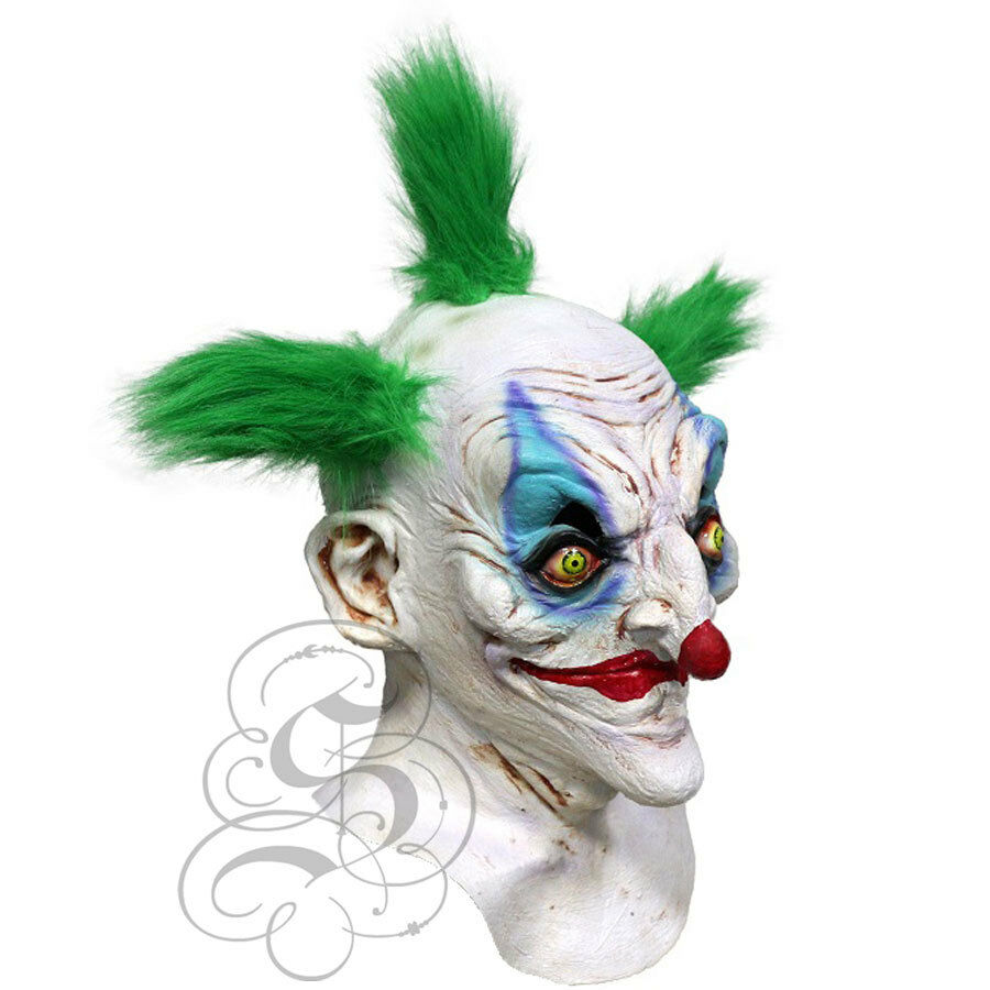 Halloween Latex Bobo Sinister Killer Clown with Green Hair Horror Party Mask