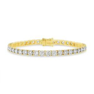 3.00 ct 14k Yellow Gold Natural Round Cut Real Diamond Tennis Bezel Set Bracelet