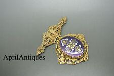 Vintage Miriam Haskell purple enamel flowers pendant filigree brooch