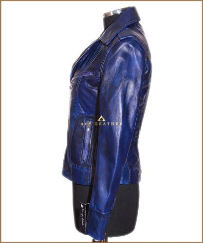 Læder Rachel sr9823 Damer Blue Style Military Jakke Lambskin Smart Real OF8SwOZqx