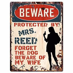 PPBW-0065-Beware-Protected-by-MRS-REED-Rustic-Chic-Sign-Funny-Gift-Ideas