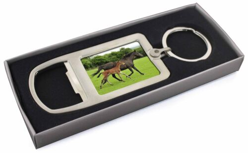 Mare with Newborn Foal Chrome Metal Bottle Opener Keyring in Box Gift , AH11MBO