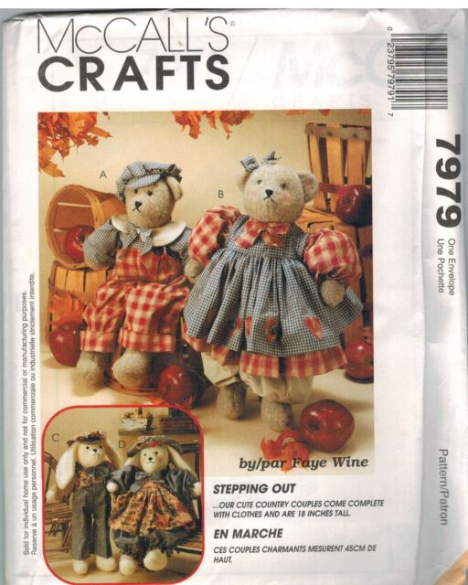 7979 Uncut McCalls Vintage Sewing Pattern Craft Faye Wine Bears ...
