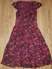 J Crew COLLECTION Dauphine Silk Chiffon Short Gown Dress 6 Red Abstract Floral