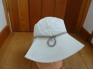 MONSOON ACCESSORIZE CREAM MOTHER OF PEARL RIBBON BEAD BRIMMED SUNHAT BNWT