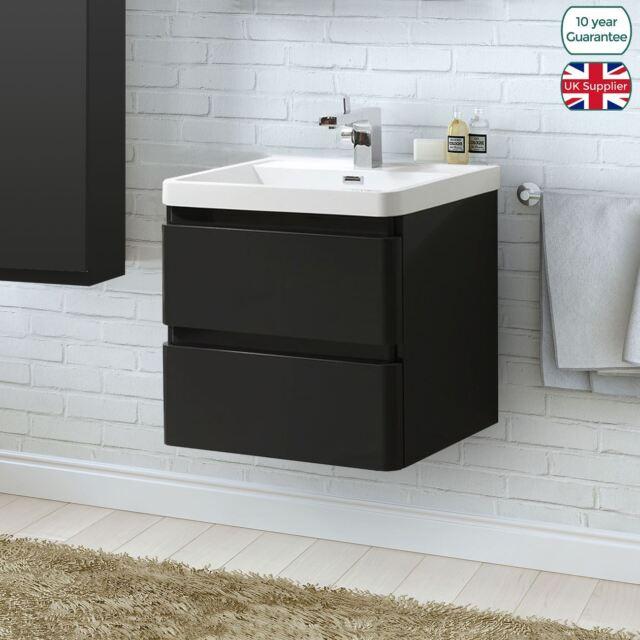 Beryl 600mm Wall Hung Black Gloss Bathroom Vanity Sink Unit 2 Drawer