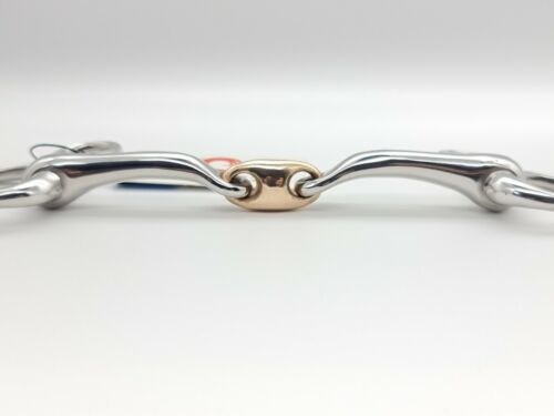 Hanging Cheek Curved 14MM Turtle Angled SS Copper Lozenge Snaffle Bit UKSALES25