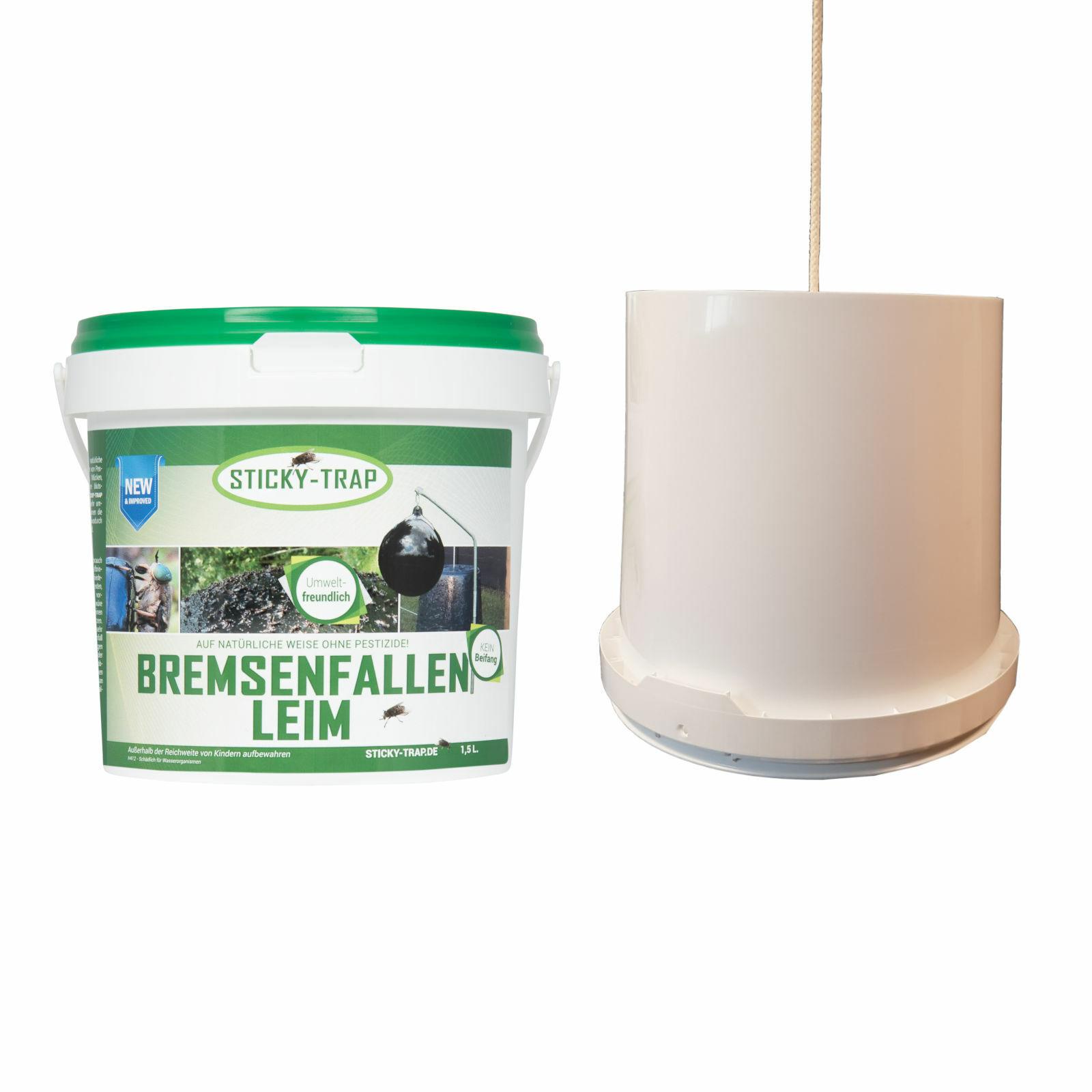Sticky trap bremsenfallenleim con cubo blancoo - 1,5 litros de moscas establo frenos