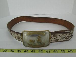 Calf Roping Buckle Nickel Silver Western Cow Pony Belt Buckle Vintage