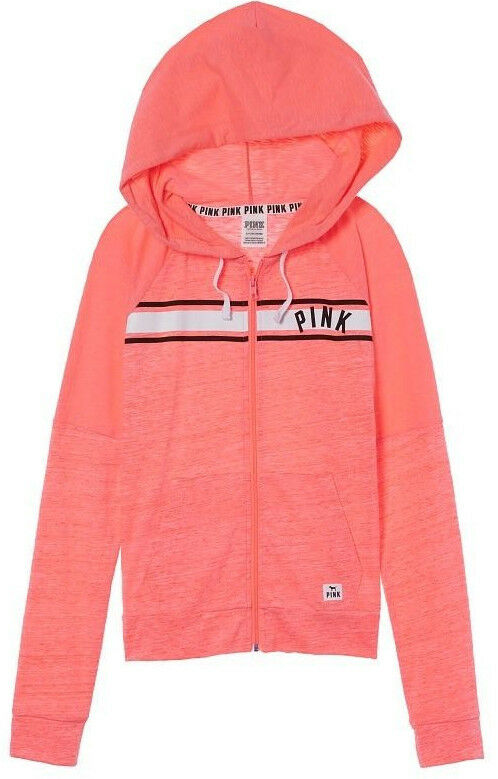 fd214f398 Coral Hoodie Zip Full Perfect Secret Victoria's Peach Pink NIP L ...