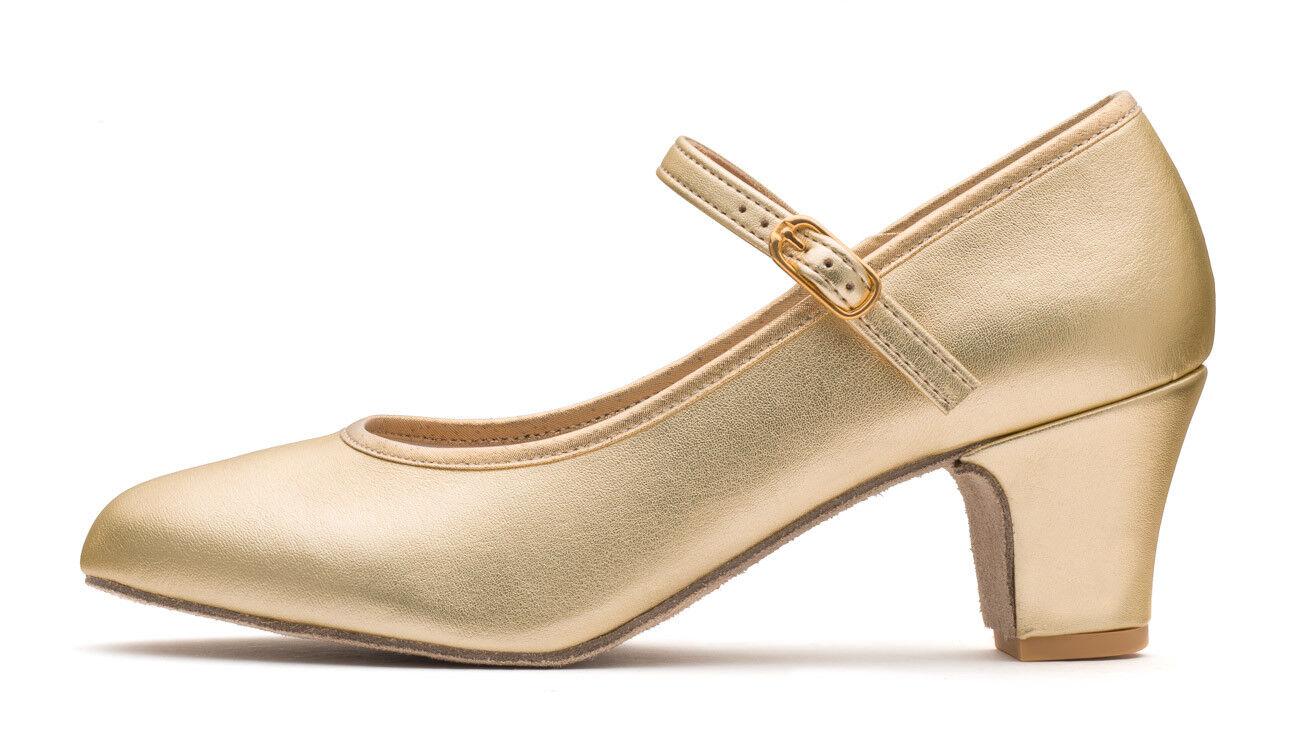 "Ladies Gold Metallic PU Suede Sole Ballroom Stage Dancing Shoes By Katz 2/"" Heel"
