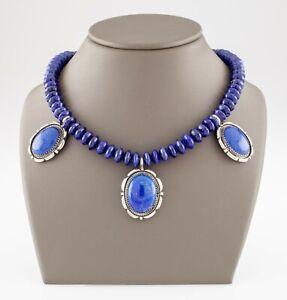 "Lapis lazuli Triple Pendant Beads Sterling Silver Necklace 20"" Long"