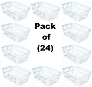 Image Is Loading 24 Sterilite 16088048 Medium White Plastic Storage Baskets