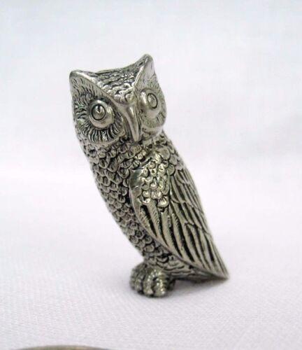 Vintage Pewter Barn Owl Figurine Cute Animal Miniature Bird Handmade Art Crafted