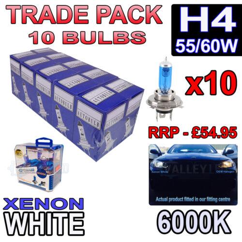 10 X H4 55 60W xenon blanc ampoules halogènes 6000K-commerce de gros phare en vrac
