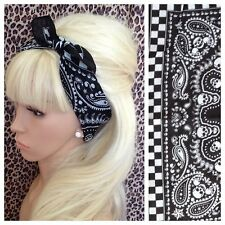 BLACK CHEQUERED SKULL PRINT COTTON BANDANA HEAD HAIR NECK SCARF ROCKABILLY PINUP
