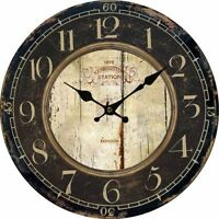 Vintage Wall Clock Rustic Antique Large 9 Round Oversized Distressed Aged Face