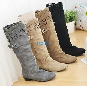 Ladies-Women-039-s-Lace-Low-Heel-Wide-Calf-High-Leg-Knee-High-Boots-Buckle-Shoes