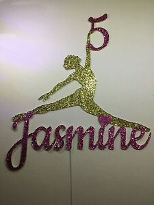 f653a9a6c8f0e Details about Gymnast, Dancer, Ballerina any name any age birthday cake  topper, many colours