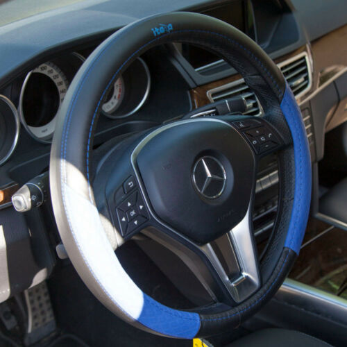 Iteza Black Blue Real Leather Steering Wheel Cover Overlay It58015 Chevy Ford