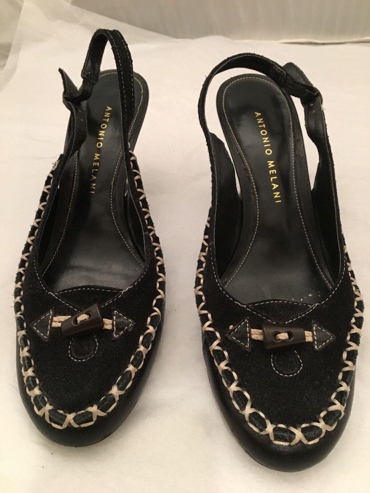 Shoes, ANTONIO MELANI, black, sling back, closed toes, 3 1/2