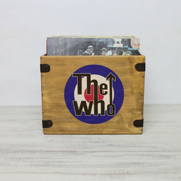 "Diplomatisch The Who Record Box Lp Vintage Wooden Album Crate 12"" Retro Vinyl Zonder Terugkeer"