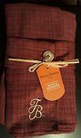 Tommy Bahama Cloth Napkins Rust Tweed Embroidered Tb Logo Set Of 4