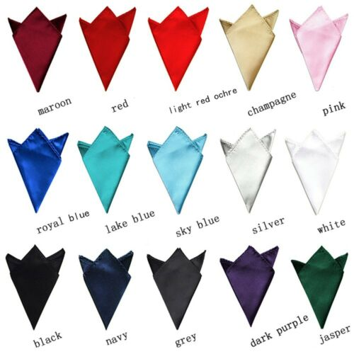 Party Plain Satin Plain Solid 15 Color Pocket Square Silk Hanky Handkerchief