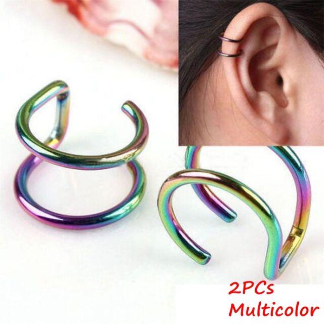 82655697a527e No Piercing-clip Ear Cuff Stud Women's Punk Wrap Cartilage Earring Jewelry  Gifts Multicolor