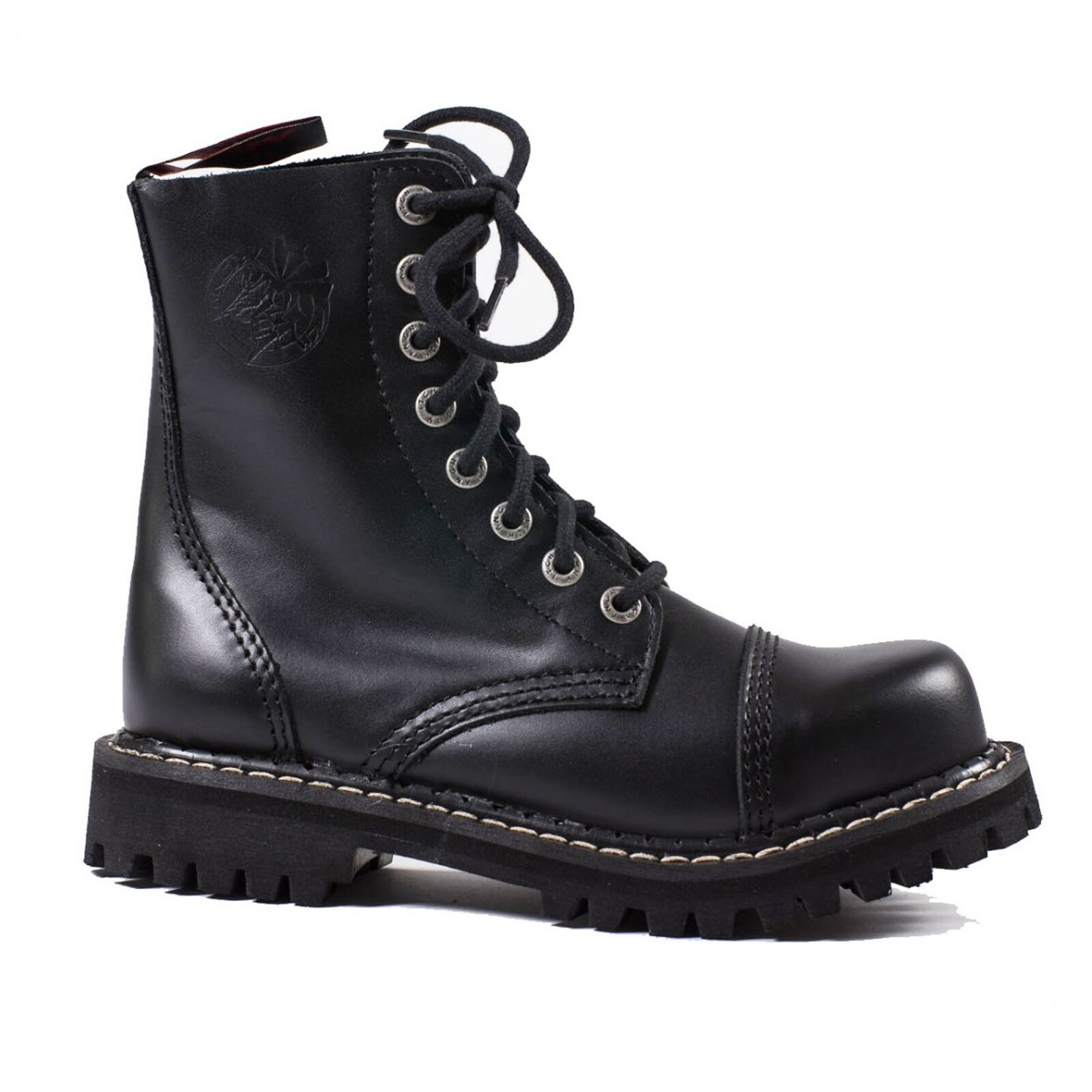 Angry Itch - 8-Loch Gothic Punk Army Ranger Armee Leder Stiefel mit Stahlkappe 3