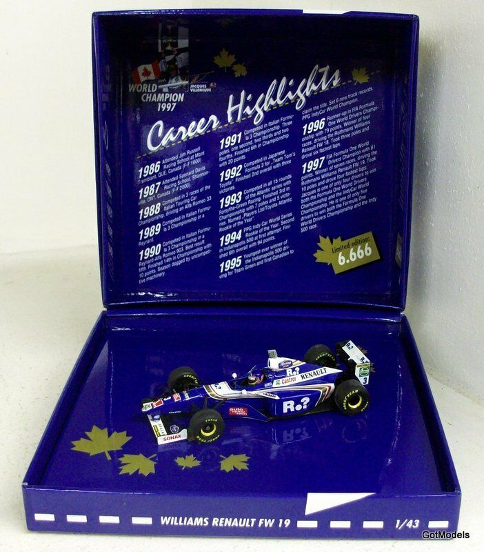 MINICHAMPS 1 43 - 516 974303 WILLIAMS FW 19 J. VILLENEUVE WC 1997 DIECAST MODEL