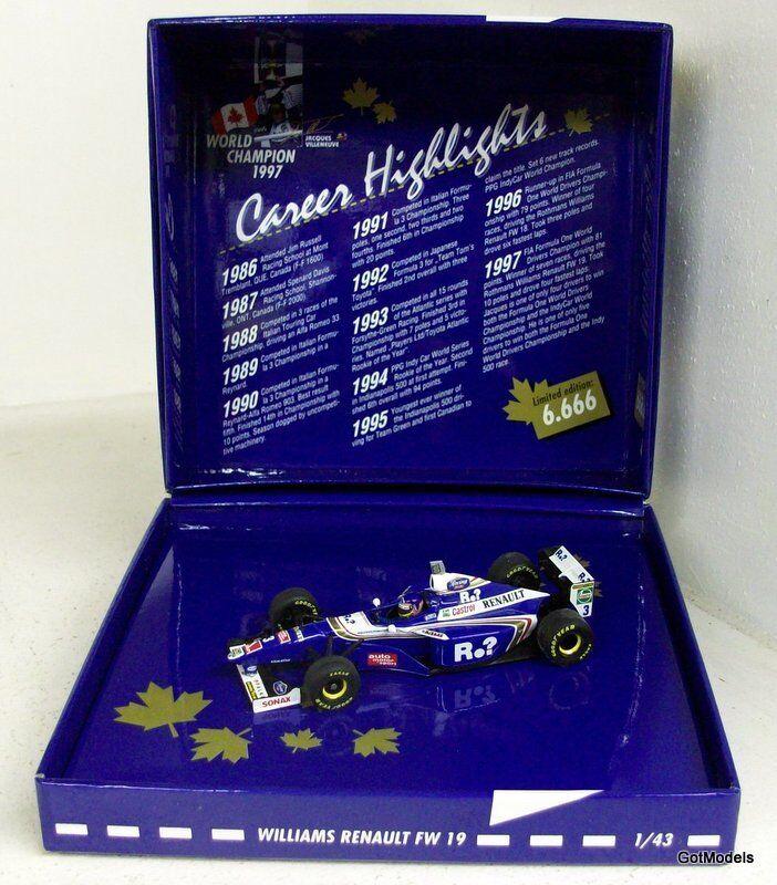 Minichamps 1 43 - 516 974303 WILLIAMS FW 19 J. Villeneuve WC 1997 DIECAST MODEL